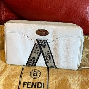 Authentic white Fendi wallets, great condition!
